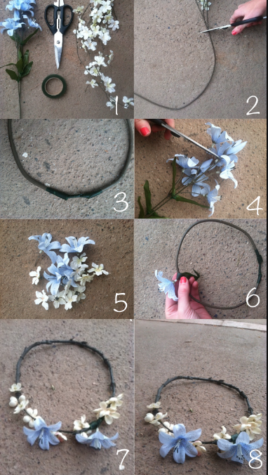 To attach each flower to the crown, make sure the flower stems are at least 3 inches long (you can cut off excess stems with scissors or wire cutters), and, using floral .