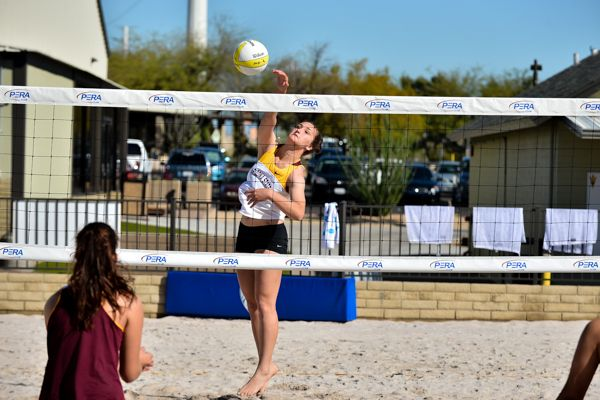 Sophomore hitter Macey Gardner hits the ball during a practice in Tempe.